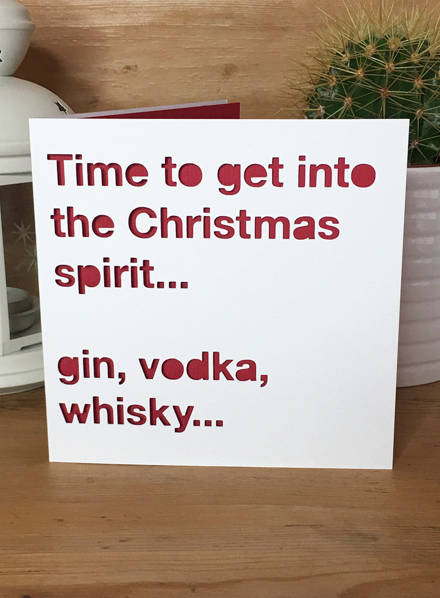 Christmas Card Drink Spirit quote alcohol funny Christmas