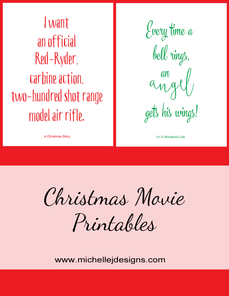 Christmas Movie Printables | Michelle James Designs