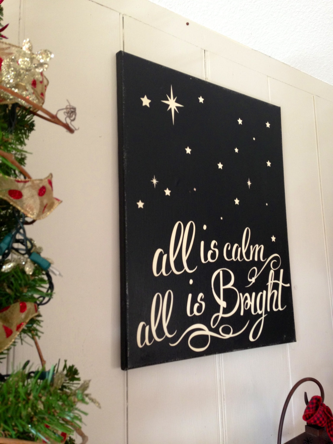 Christmas Sign Holiday Decoration Painted Silent Night All is