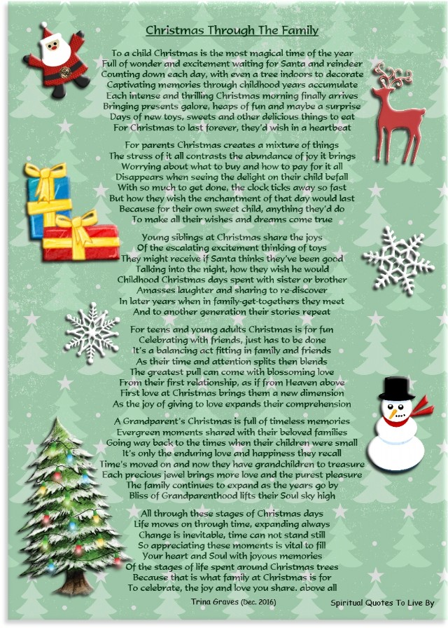 Christmas Through The Family Poem by Trina Graves - Poem ...