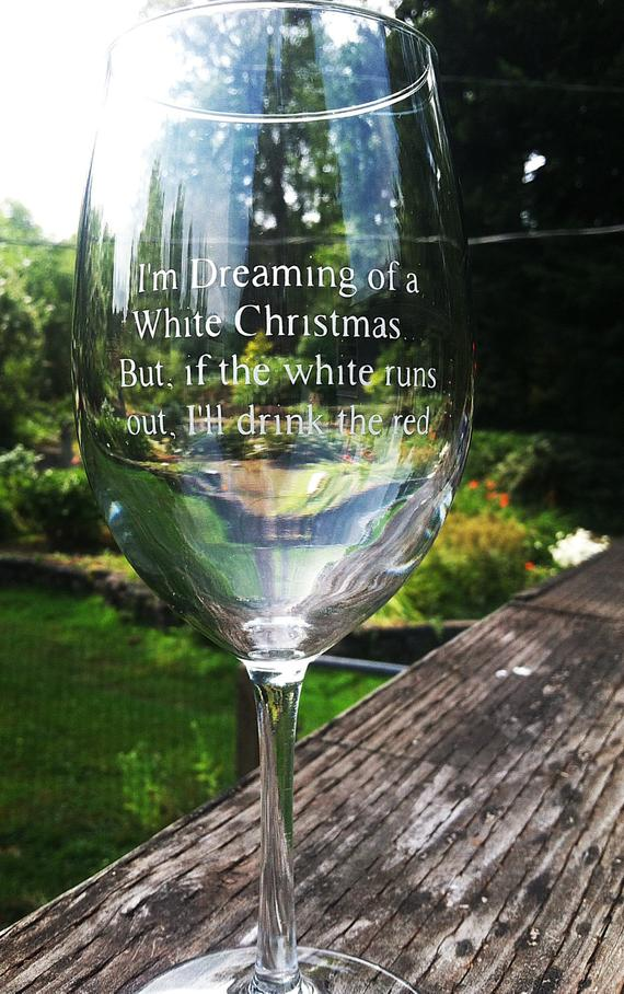 Christmas Wine Glass Etched with Funny Saying by ...