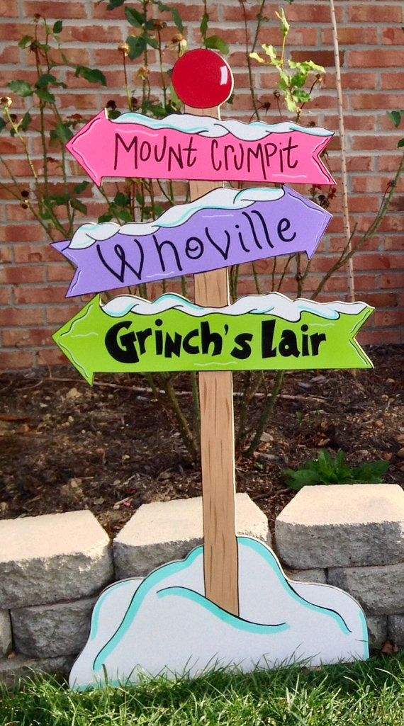 Grinch yard art.whoville yard artwhoville sign by ...