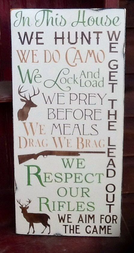 Rustic hunting wooden sign plaque wall hanging camo by ...