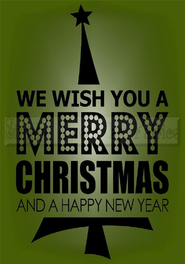 Wish You A Merry Christmas Vinyl Wall Saying Lettering ...